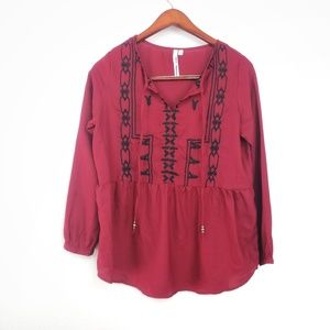 Maroon Long Sleeve BoHo Embroidered Peplum Top